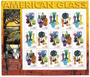 USA 3325-3328 MNH SHEETS AMERICAN GLASS