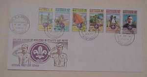 ST. KITTS FDC  BOY SCOUT  GOLDEN JUBILEE 1978 CACHET UNADDRESSED
