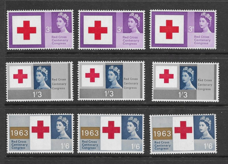 Great Britain 398-400 MNH cpl sets x 3, f-vf. see desc. 2020 CV $12.15