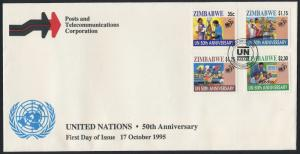 Zimbabwe 746-9 on FDC - 50th Anniv United Nations, Education Medicine, Food