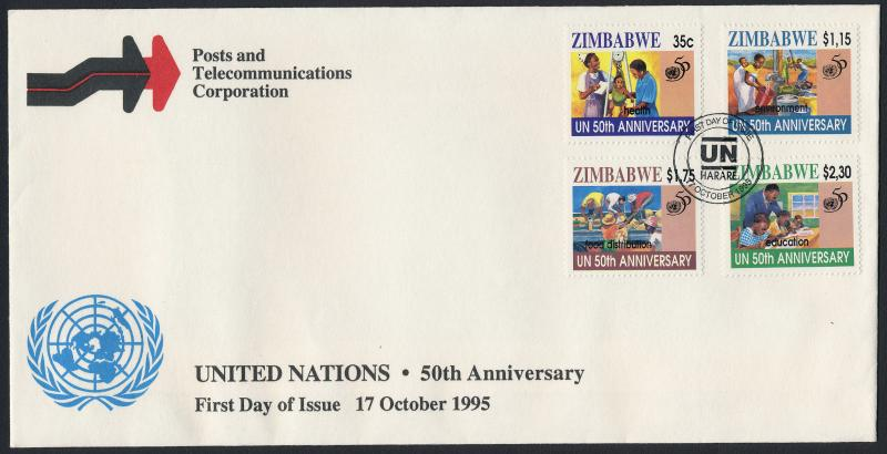 Zimbabwe 746-9 on FDC - 50th Anniv United Nations, Education Medicine, Food