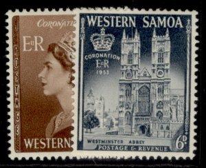 SAMOA QEII SG229-230, 1953 CORONATION SET, M MINT.
