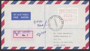 NEW ZEALAND 1986 $2.75 Frama Insured cover Auckland Airport to Latvia.......E180