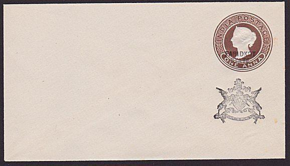 INDIA FARIDKOT QV 1a envelope overprinted in black..........................6123