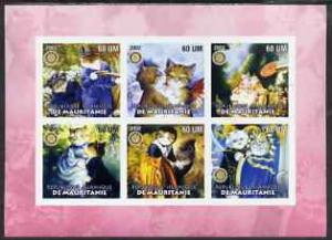 Mauritania 2002 Cartoon Cats #1 (pink border) imperf shee...