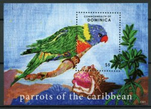 Dominica Birds on Stamps 2013 MNH Parrots of Caribbean Parrot 1v S/S
