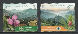 Croatia 2019 Flowers joint issue Korea 2 MNH Stamps