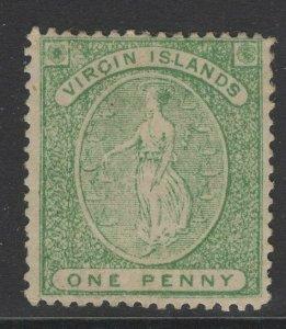 VIRGIN ISLANDS SG8 1868 1d YELLOW-GREEN MTD MINT