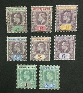 MOMEN: NORTHERN NIGERIA SG #20a-27a 1905-07 MINT OG H LOT #194738-3211