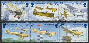 Alderney SG A78a-81a SC# 88-89  Aircraft Used strips of 3  each see scan