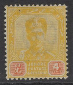 MALAYA JOHORE SG43 1899 4c YELLOW & RED MTD MINT
