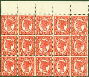 Queensland 1897 1d Vermilion ZigZag SG259(d) Plain Roulette x Perf VF MNH Block