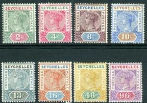 SEYCHELLES-1890-92 A mounted mint DIE 1 set to 96c Sg 1-8