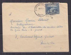 HAITI, 1935 cover, Port Au Prince to Paris, France, 25c.