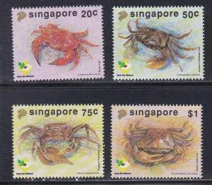 Singapore # 637-640, Crabs, NH, 1/2 Cat.