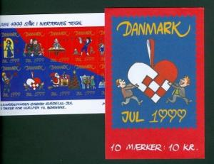 Denmark.  Booklet  1999  10 Christmas Seals Mnh. Valentines. Santa,Dog.Cat.