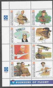 Micronesia #155 Pioneers of Flight block of 8 (MNH) CV$4.75