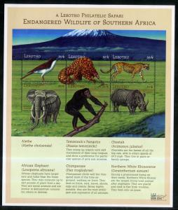 LESOTHO 1244 MNH S/S SCV $9.00 BIN $5.50 ANIMALS