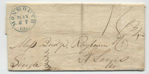 1842 Monmouth IL stampless folded letter blue CDS [5806.690]