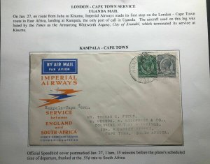 1932 Kampala Uganda First Flight Airmail Cover FFC To Cape Town South Africa