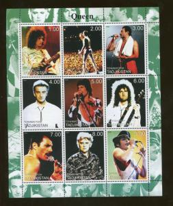 Tajikistan Commemorative Souvenir Stamp Sheet - Queen - Freddie Mercury