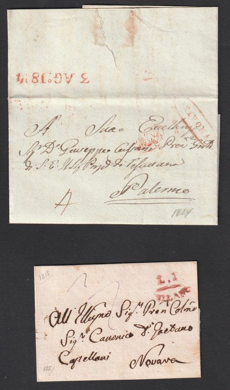 Italy x 2 old pre stamp covers