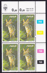 SWA Black-backed Jackal 1c Block of Four with Date and Control Numbers SG#349a