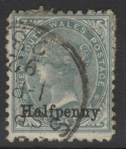 NEW SOUTH WALES SG266 1891 ½d on 1d GREY p11x12 USED