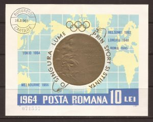 1964 Romania - Sc 1634a - used VF - Mini Sheet - Stamp Shows