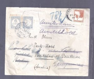 ISRAEL PALESTINE BRITISH MANDATE 1936 COV NETHERLANDS TO PAY TAXED POSTAGE DUE