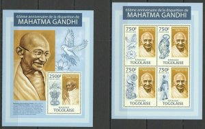 TG732 2013 TOGO GREAT HUMANISTS MAHATMA GANDHI KB+BL MNH
