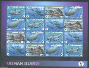 CAYMAN ISLANDS WHALES WORLD WILDLIFE FUND  SHEET SCOTT#902/05a  MINT NH