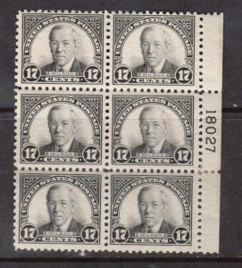 USA #623 VF Mint Plate Block Of Six