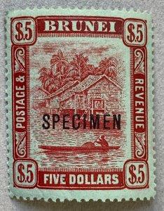 Brunei 1908 $5 SPECIMEN overprint. Scott 38, SG 47