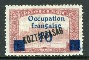 Hungary 1919 French Occupation 10k/1k Koztarsasg Sc #1N38 Mint M62 ⭐⭐