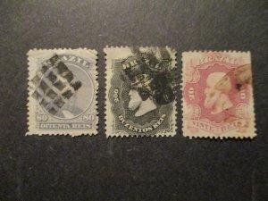 Brazil 1866 S# 54, 57 & 59, 3v  Used Set Pleasant