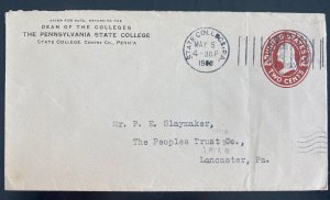 1906 State college PA Usa Postal stationery Cover to Lancaster