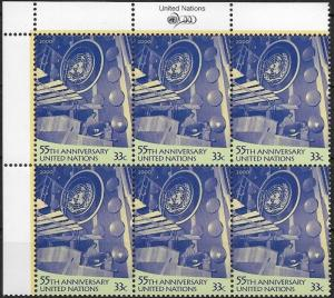 United Nations 2000 New York  55th Anniversary of UN Block of 6  SC# 779 MNH