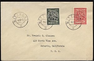 Norway FDC Sc #272/273 1945 to California
