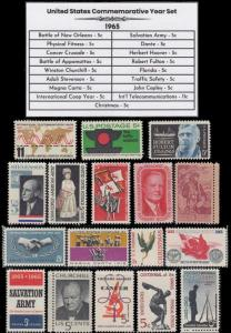 1965 US Postage Stamps Complete Commemorative Year Set Mint