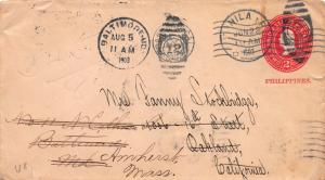 Philippines, Scott #U8 Entire Used in 1903 sent from Manila, P.I., 9 Post Marks