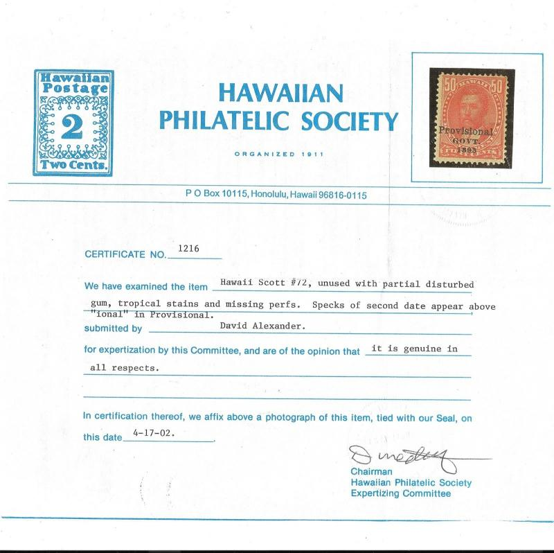 "WCstamps: Hawaii Scott #72f / $1,000 - 50c ""Double Overprint"" HPS Cert, Mint OGh"