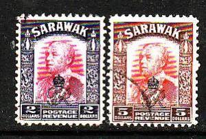 Sarawak-Sc#172-3-used $2 vio & magenta, $5 red brown & red-Sir Charles Vyner Bro