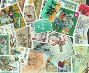 25 CYCLING  THEMED STAMPS OFF PAPER - ALL DIFFERENT