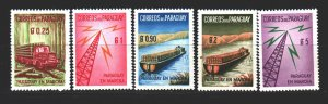 Paraguay. 1961. a series 882-86. Funkturm, barge, truck with wood. MNH.