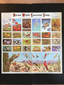 1971 National Wildlife Federation Conservation Stamps Full Sheet