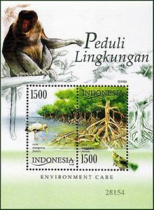 INDONESIA - 2005 ENVIRONMENTAL CARE/BIRD ANIMALS MONKEY MIN/SHT - MNH