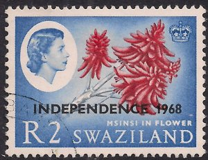 Swaziland 1968 QE2 2rs Msinisi in flower Independence Ovpt SG 160 ( L1492 )