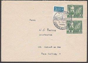 GERMANY 1954 Berlin Notopfer stamp on cover + Mergenthaler 10pf (2).........B342
