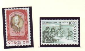 Norway Sc 867-8 1985 Public Libraries stamp set mint NH